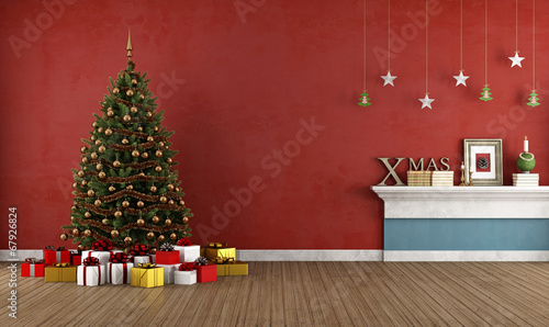 In de dag Retro Old red room with christmas tree