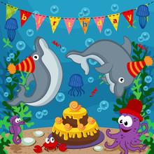 Birthday Marine Animals - Vect...