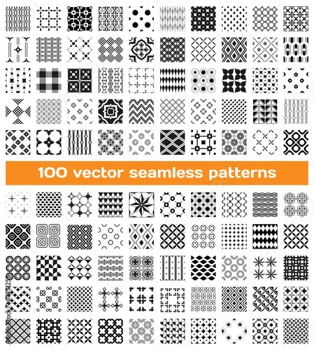 100 tiled different monochrome vector seamless patterns - 67931255