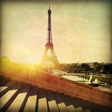 Grunge Image Of Paris At Sunset.
