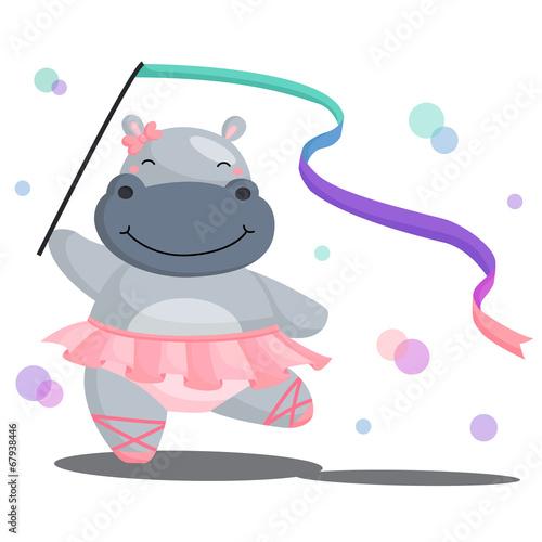 Ballerina Hippo Wallpaper Mural