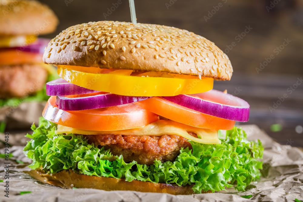 Obraz Tasty homemade two hamburgers fototapeta, plakat