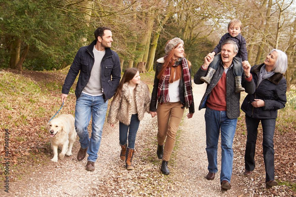 Fototapety, obrazy: Multi Generation Family On Countryside Walk