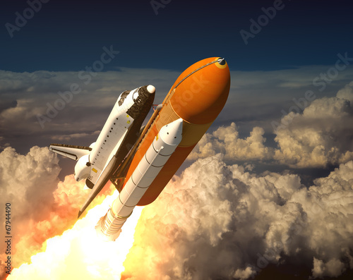 Photo  Space Shuttle In The Clouds
