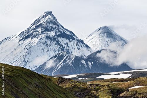 Poster Volcano Mountain landscape, volcanoes: Kamen, Kliuchevskoi, Bezymianny