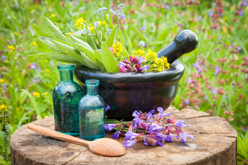 black mortar with healing herbs and sage, glass bottle of oil Canvas Print
