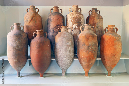 A group of Amphora recovered from the sea in Tuscany Canvas Print