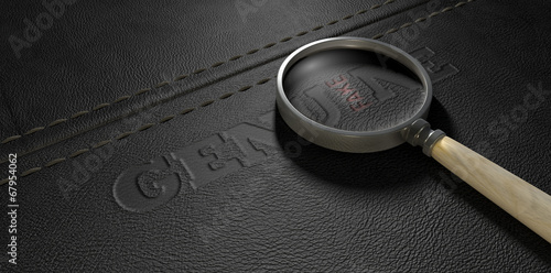 Fotografia, Obraz  Fake Leather With Magnifying Glass