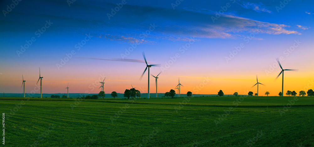 Fototapety, obrazy: Wind farm on Kashubian - Poland
