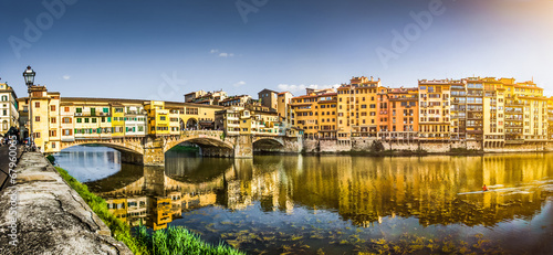 Aluminium Prints Florence Ponte Vecchio with river Arno at sunset, Florence, Italy