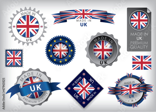 Fotografie, Obraz  Made in UK Seals, British Flag (VECTOR ART)