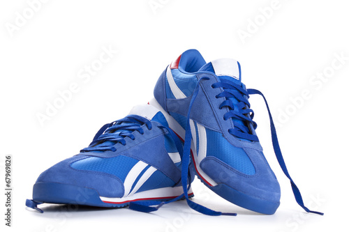Fotografia  Blue sneaker on a white background