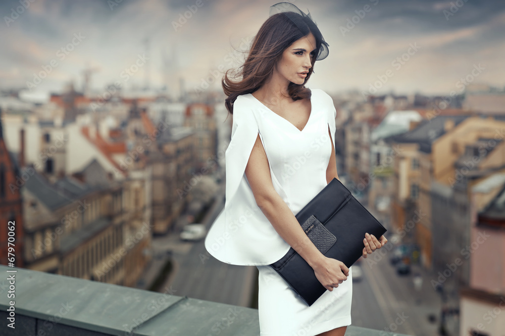Fototapety, obrazy: Elegant businesswoman on the roof of the building