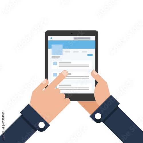 Obraz Businessman holding tablet Microblogging - fototapety do salonu