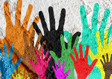 Colorful Silhouette Hands On Cement Wall Texture Background Desi