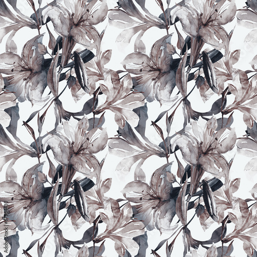 Wall Murals Classical abstraction White lily seamless pattern
