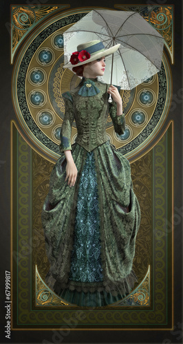 Photographie  Green Belle Epoque Gown, 3d CG