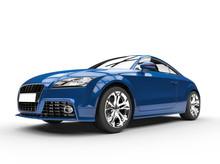 Fast Dark Blue Car On White Background