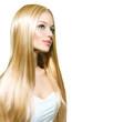 Leinwanddruck Bild - Beautiful Blond Girl isolated on a White Background