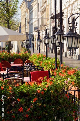 Fototapeta Street cafe in Cracow obraz