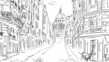 Fototapeta Fototapety Paryż - Street in paris -sketch  illustration