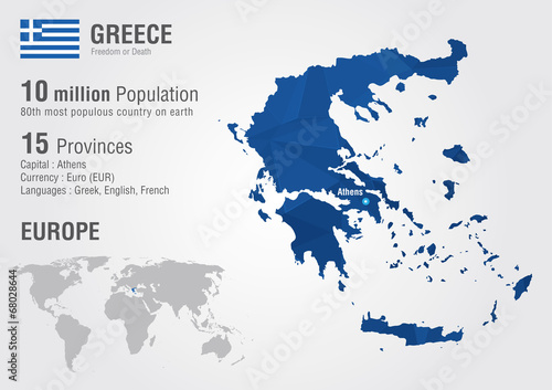 Canvas Print Greece world map with a pixel diamond texture.