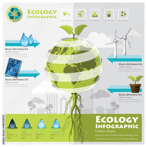 Fotografie, Obraz  Ecology And Environment Infographic Element