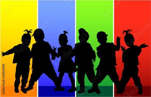 Poster Militaire children silhouettes