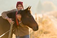 Man Hugging His Horse