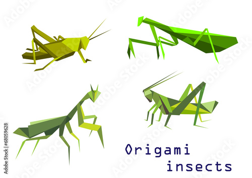 Green origami grasshoppers and mantis Wallpaper Mural