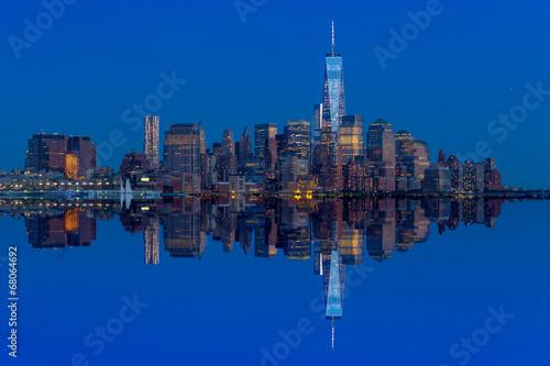 Manhattan Skyline from Jersey at twilight Poster