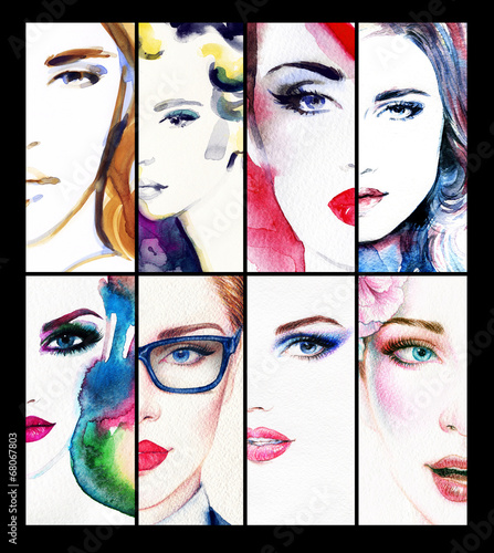 Deurstickers Aquarel Gezicht collage of beautiful woman face