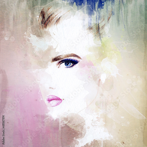 Tuinposter Aquarel Gezicht woman portrait .abstract watercolor .fashion background
