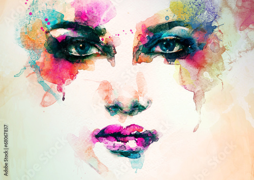 Poster Aquarel Gezicht woman portrait .abstract watercolor .fashion background