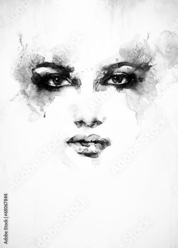 Deurstickers Aquarel Gezicht Beautiful woman face. watercolor illustration