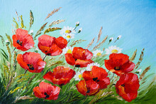 Oil Painting - Poppies In The ...