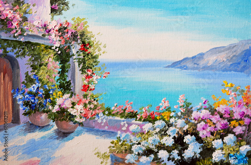 Fototapeta oil painting - house near sea obraz