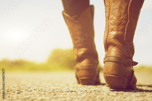 Fotografia, Obraz  Female with cowboy boots