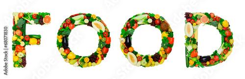 Poster Légumes frais Healthy alphabet - FOOD