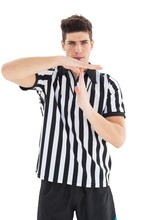 Stern Referee Showing Time Out...