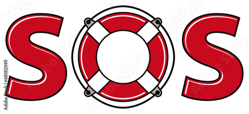 Vászonkép SOS signal with life ring.