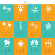 2015 Calendar With Months And  Holiday Icons