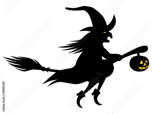 Fliegende Hexe Auf Einem Besen Mit Leuchtendem Halloween Kurbis