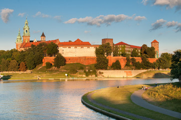 FototapetaVistula River before Wawel Royal Castle in Krakow
