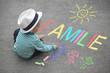 Leinwandbild Motiv Kinderzeichnung mit Kreide - Familie