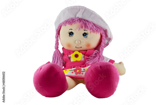 Fotografie, Obraz  stuffed soft funny pig-tailed red-headed doll