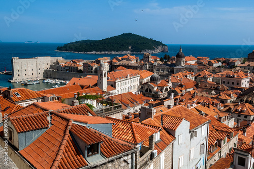 Fototapety, obrazy: The rooftops and harbour, Dubrovnik, Croatia