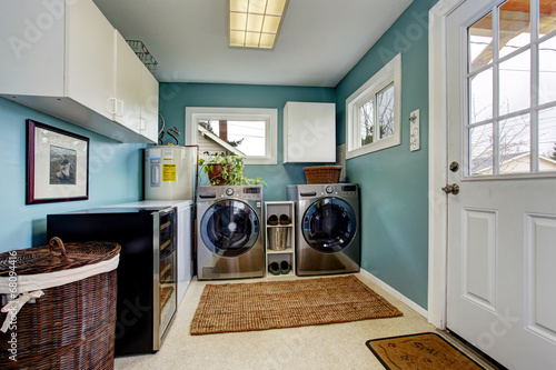Fotografia, Obraz  Laundry room with modern steel appliances