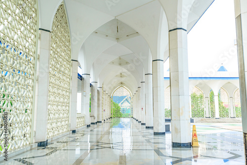 A Hallway of Blue Mosque in Shah Alam, Malaysia Canvas Print