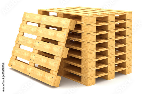 Fotografie, Obraz  Shipping pallets isolated on white background